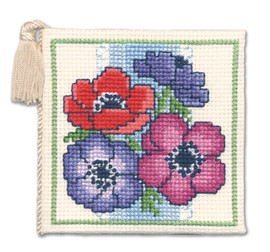 Anemones Needle Case Cross Stitch Kit by Textile Heritage