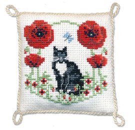 Poppy Pin Cushion Cross Stitch Kit by Textile Heritage
