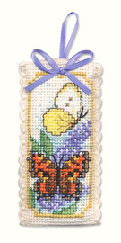 Butterflies & Buddleia Sachet Cross Stitch Kit by Textile Heritage