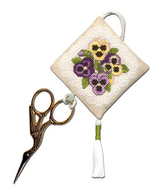 Victorian Pansies Scissor Keep Cross Stitch Kit by Textile Heritage