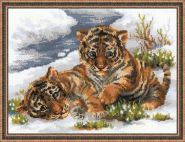 Tiger Cubs in Snow Cross Stitch Kit by Riolis