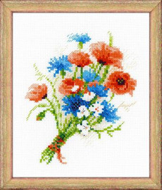 Bouquet with Cornflowers Cross Stitch Kit by Riolis