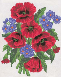 Poppies and Violets Canvas only By Grafitec
