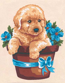 Puppy and Flowers Canvas only By Grafitec