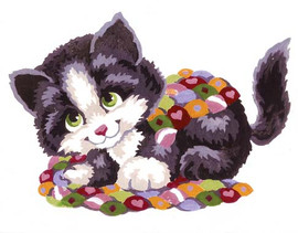 Kitten and Quilt Canvas only By Grafitec