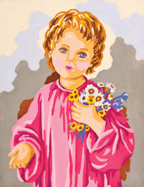 Child with Flowers  Canvas only By Grafitec