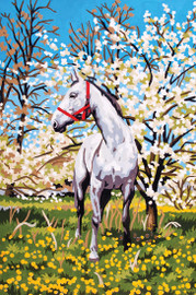 Horse in Orchard Canvas only By Grafitec