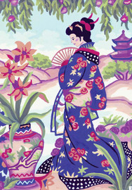 Geisha with Fan Canvas only By Grafitec