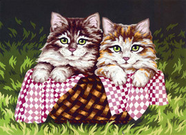 Kittens in a Basket Canvas only By Grafitec