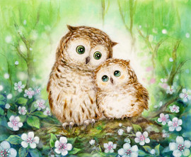 Mother and Baby Owl Canvas only By Grafitec