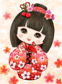 Sweet Geisha Origami Canvas only By Grafitec