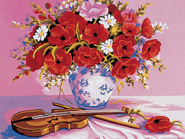 Violin and Poppies Canvas only By Grafitec