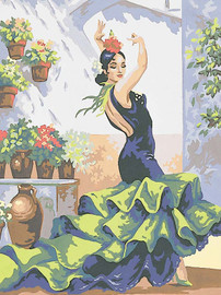 Flamenco Dancer Canvas only By Grafitec