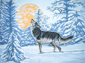 Moonlight Wolf Canvas only By Grafitec