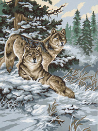 Snow Wolves Canvas only By Grafitec