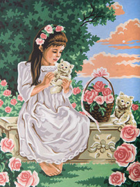 Girl and Kittens Canvas only By Grafitec