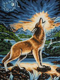 Howling Wolf Canvas only By Grafitec