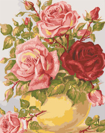 Roses in a Yellow Vase Canvas only By Grafitec