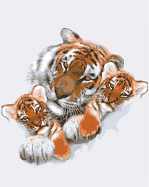 Tigress with Cubs Canvas only By Grafitec