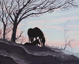 Mare and Foal Silhouette Canvas only By Grafitec
