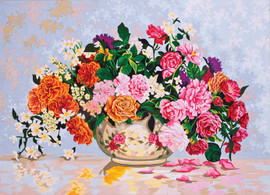 Roses in a China Bowl Canvas only By Grafitec
