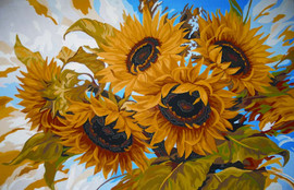 Windswept Sunflowers Canvas only By Grafitec