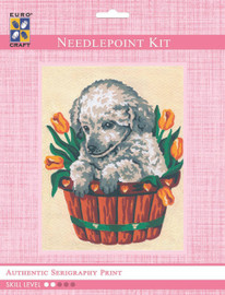 Puppy in Tulips  Tapestry Kit By Grafitec