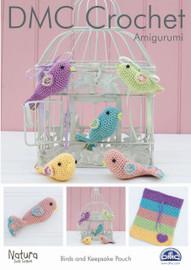 Birds and Keepsake Pouch Crochet Pattern Leaflet  By DMC