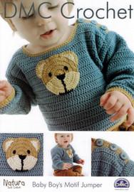 Baby Boy's Motif Jumper Crochet Pattern Leaflet  By DMC