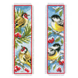 Birds in Winter (Set of 2) Bookmarks Cross Stitch Kit By Vervaco