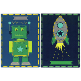 Robot and Rocket (Set of 2) Cards Embroidery Kit By Vervaco