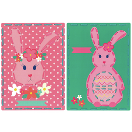 Rabbit with Flowers (Set of 2)  Embroidery Kit By Vervaco