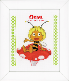 Maya on Mushroom Birth Record Cross Stitch Kit By Vervaco