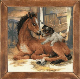 Foal and Puppy Cross Stitch Kit By Riolis