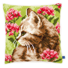 Cat in a field of flowers Chunky Cross Stitch Kit By Vervaco