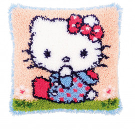 Kitty on the Grass Latch Hook Rug Kit By Vervaco