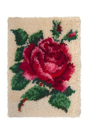 Single Rose Latch Hook Rug  By Grafitec