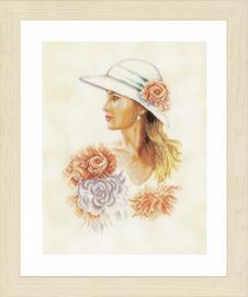 Lady With Hat Cross Stitch Kit By Lanarte
