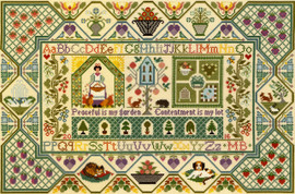 Peaceful Garden Sampler Cross Stitch Kit By Bothy Threads