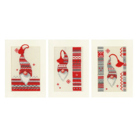 Counted Cross Stitch: Greeting Cards: Christmas Elf (Set of 3) By Vervaco