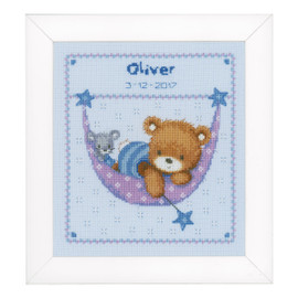 Counted Cross Stitch: Birth Record: Little Bear in Hammock (Blue)