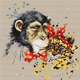 Chimp and Cheetah  Cross Stitch Kit By Luca S