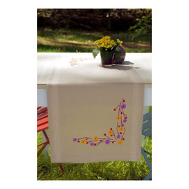 Playful Flowers  Embroidery: Runner Kit By Vervaco