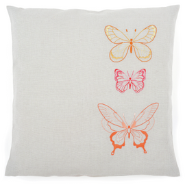 Orange Butterflies  Embroidery Cushion Kit By Vervaco
