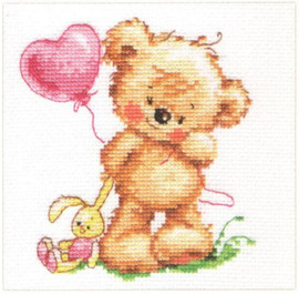 Lovely Teddy Bear Cross Stitch Kit by Alisa