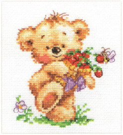 Sweet tooth Teddy Bear Cross Stitch Kit by Alisa