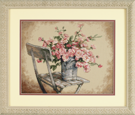 Roses On White Chair Cross Stitch Kit