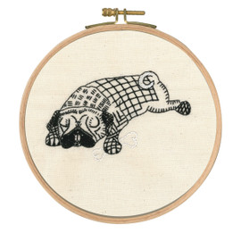 Doug Dozing Printed Embroidery Kit With Hoop By DMC