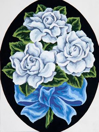 White Roses Tapestry Canvas By Grafitec