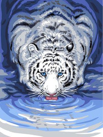 White Tiger Drinking Tapestry Canvas By Grafitec